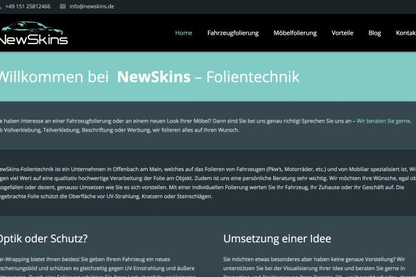 Web-Entwicklung für Startups - newskins.de - von frey-sein