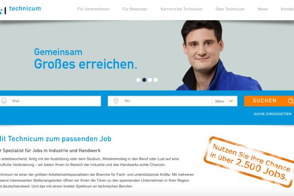 techncium.de auf dem Bluetrix CMS